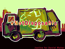 Immigrants Are #NotDisposable - Rally 8/12/15 to Demand Release of Daniel Maher, Ecology Center Recycling Director