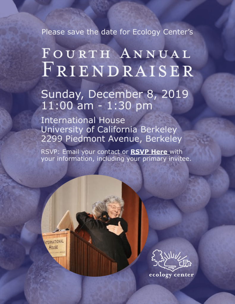 This image is a flyer promoting Ecology Center's Fourth Annual Friendraiser happening December 8th, 2019 from 11 AM to 1:30 PM.