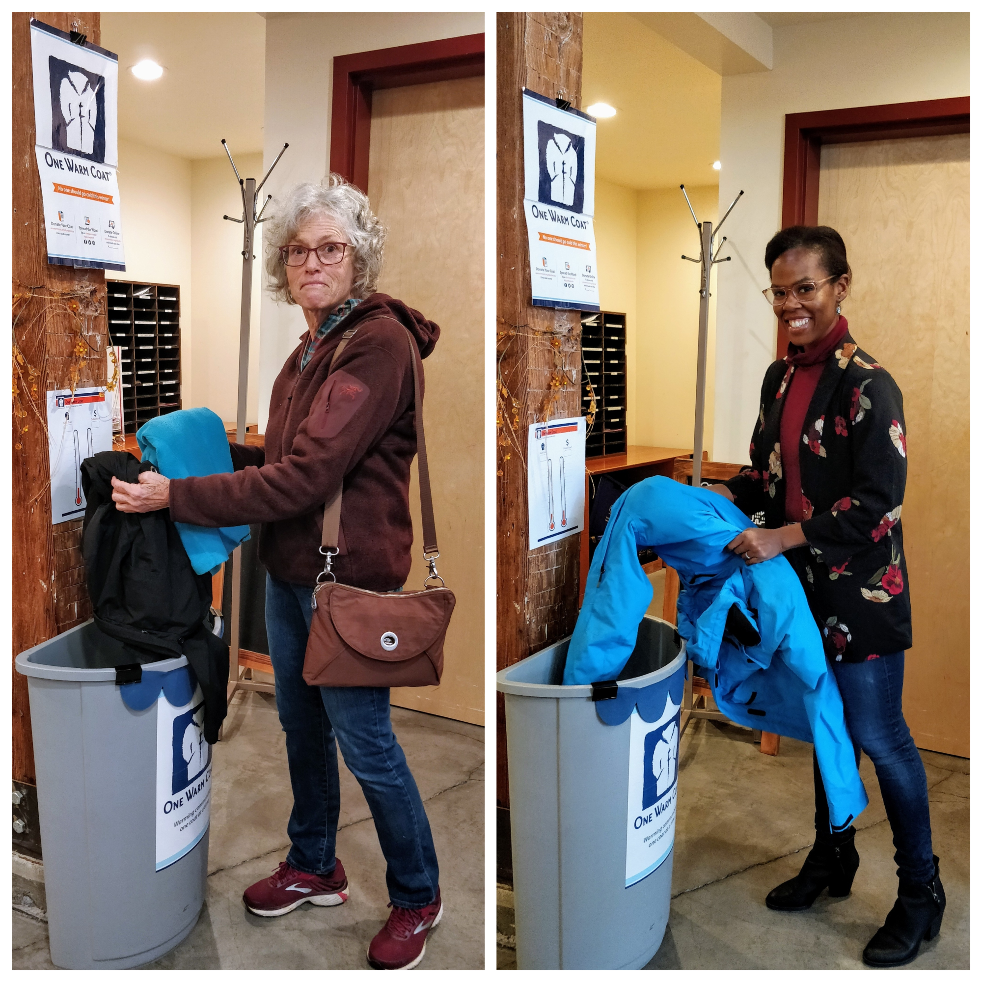 A collage; on the left is the first lady who donated coats, and on the left is our staff donating to the Coat Drive