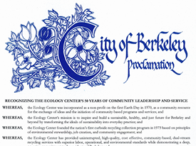 Berkeley Mayor and City Council Recognize Ecology Center's 50 Years of Community Leadership and Service